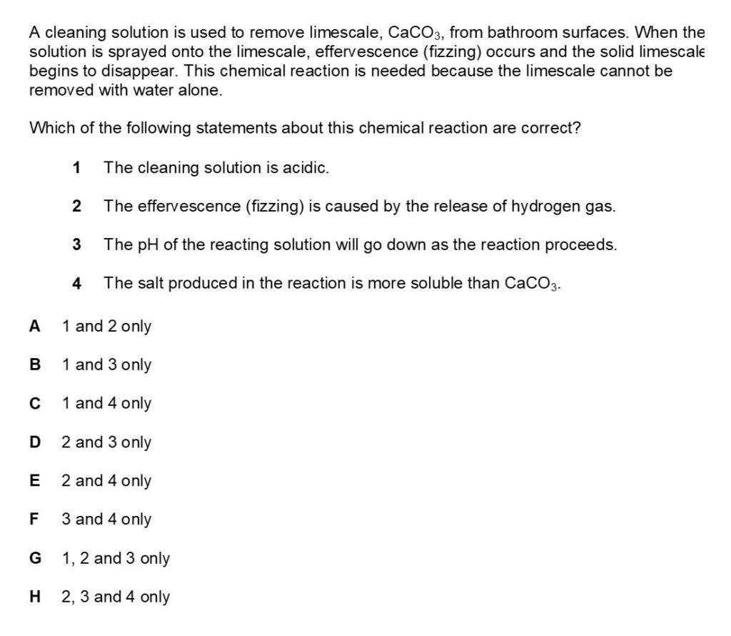 BMAT Chemistry Practice Question 1