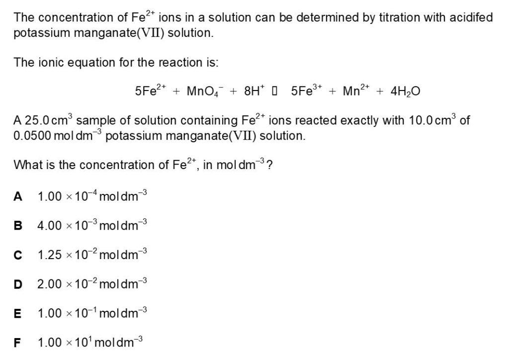 BMAT Chemistry Practice Question 3