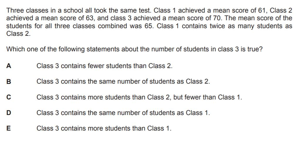BMAT Statistics Practice Question