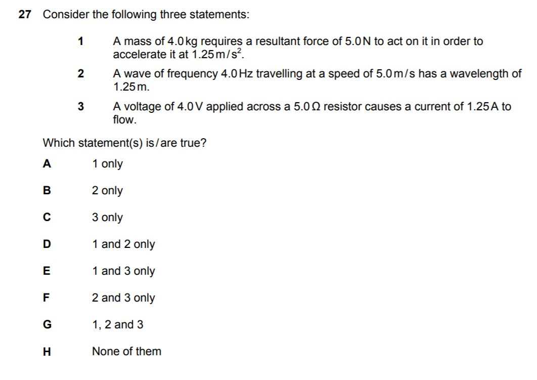 which statements are correct bmat answer format