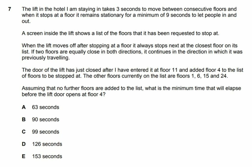 classic problem solving question bmat section 1 question 2